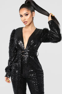 Dance Into Day Sequin Jumpsuit - Black Angle 2