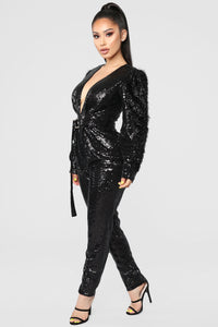 Dance Into Day Sequin Jumpsuit - Black Angle 3
