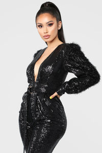 Dance Into Day Sequin Jumpsuit - Black Angle 4