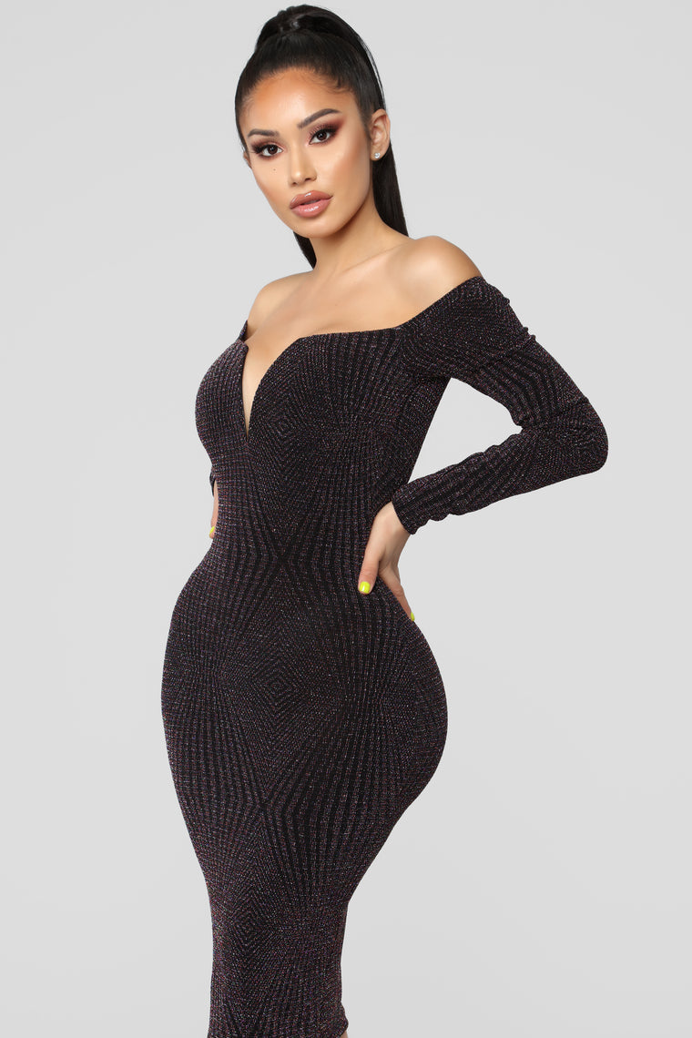 Christine Off Shoulder Dress - Multi