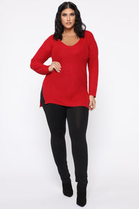 Georgina Caged Back Sweater - Red Angle 8