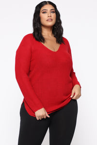 Georgina Caged Back Sweater - Red Angle 6