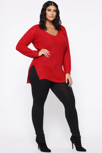 Georgina Caged Back Sweater - Red Angle 10