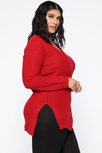 Georgina Caged Back Sweater - Red Angle 9