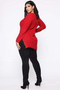 Georgina Caged Back Sweater - Red Angle 7