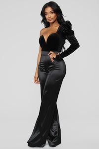 Make A Wish Stretch Satin Pants - Black
