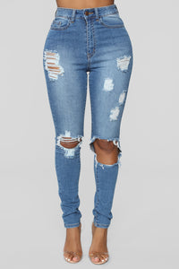 Get With It Distressed Jeans - Medium Blue Wash
