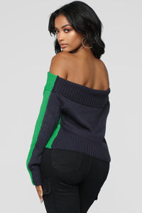 On The Other Side Off Shoulder Sweater - Green/Combo