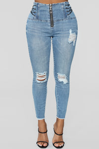 Tied Up High Rise Jeans - Dark Denim