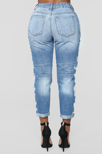 My Best Side Distressed High Rise Jeans - Light Blue Wash