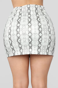 Snake Your Way Through Skirt - White