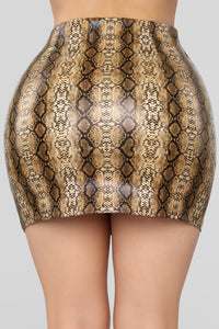 Snake Your Way Through Skirt - Brown