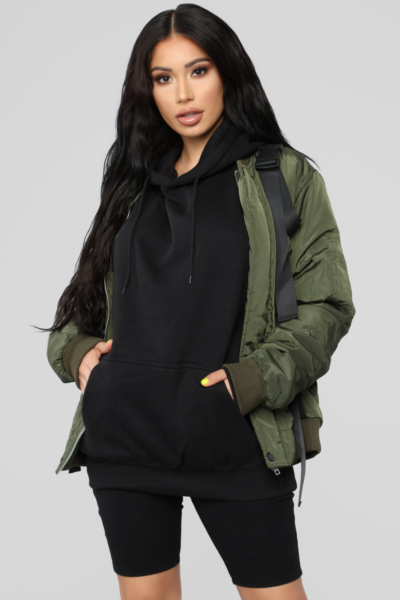 Buckle Up Nylon Bomber - Olive
