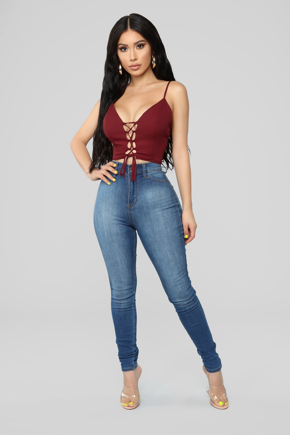 Robin Lace Up Crop Top - Wine