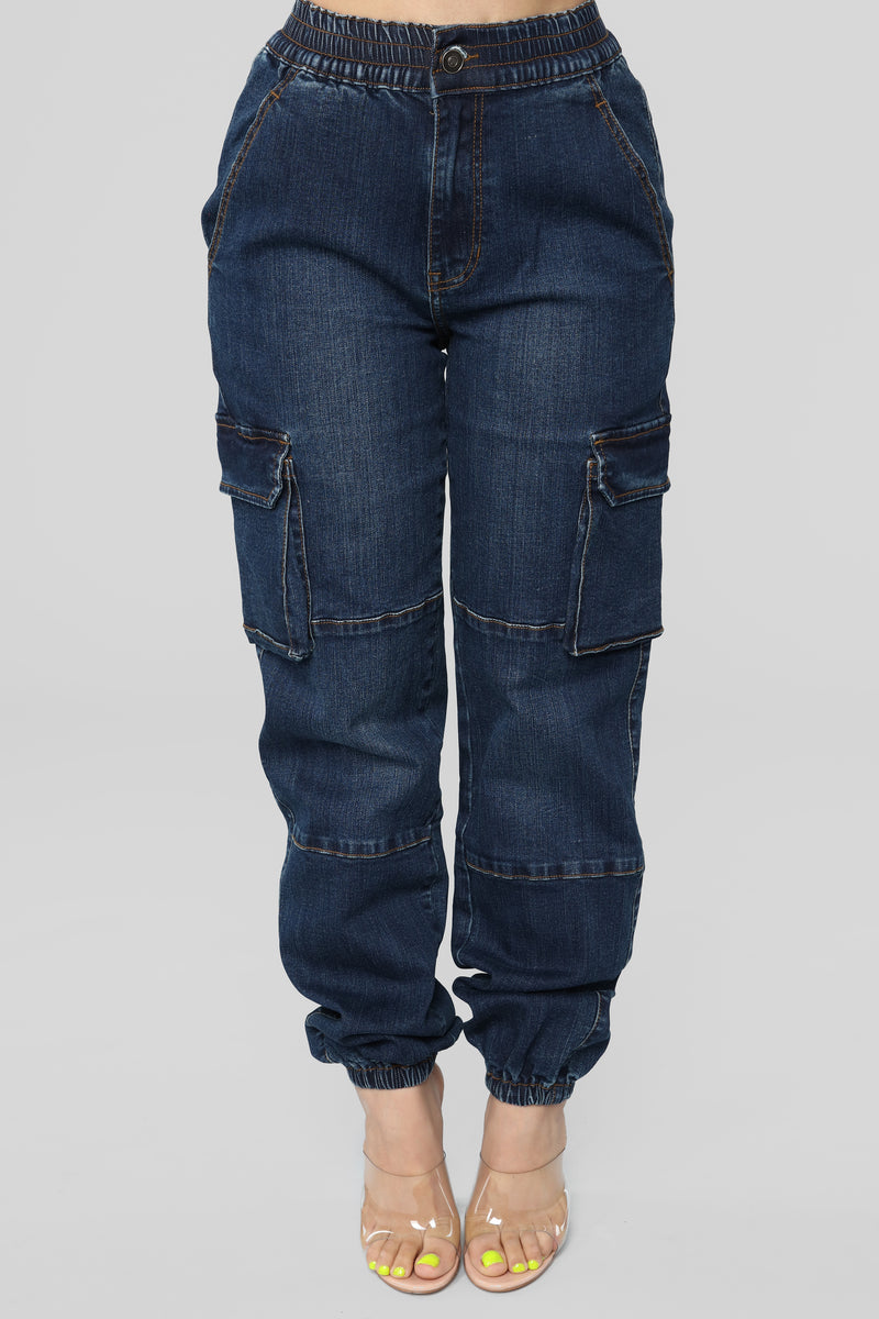 Good Girl Gone Cargo Jeans - Dark Denim