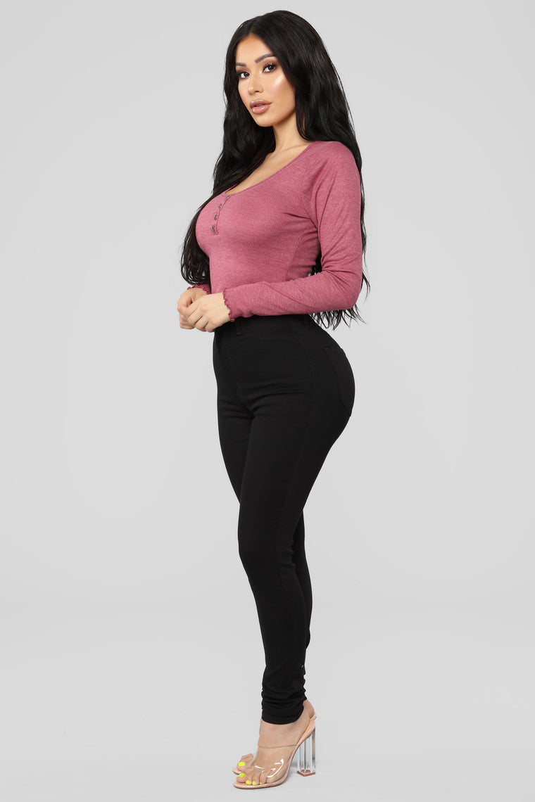 Lizzie Ribbed Top - Marsala