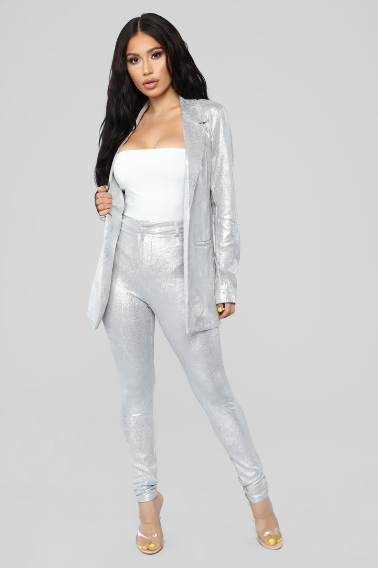 Disco Babe Metallic 2 Piece Set - Silver