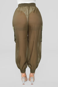 See Right Through Me Pant Set - Olive