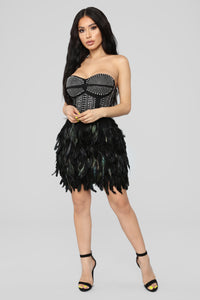 Secret Gossip Feather Dress - Black