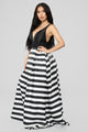 Kate Striped Gown - Black/White