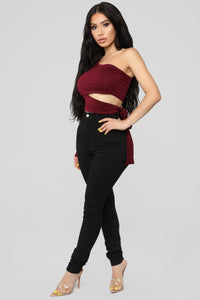 Heart Holder One Shoulder Top - Burgundy
