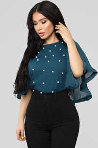 Don't Pearl With Me Blouse - Teal
