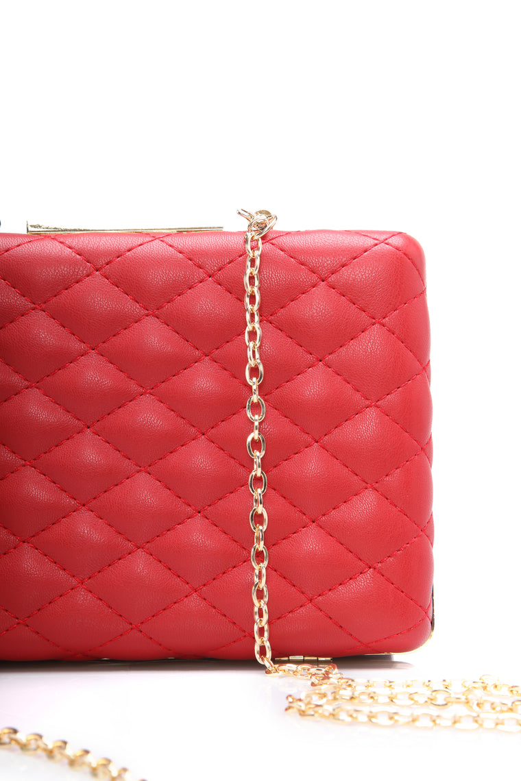Cross My Path Quilted Clutch - Red