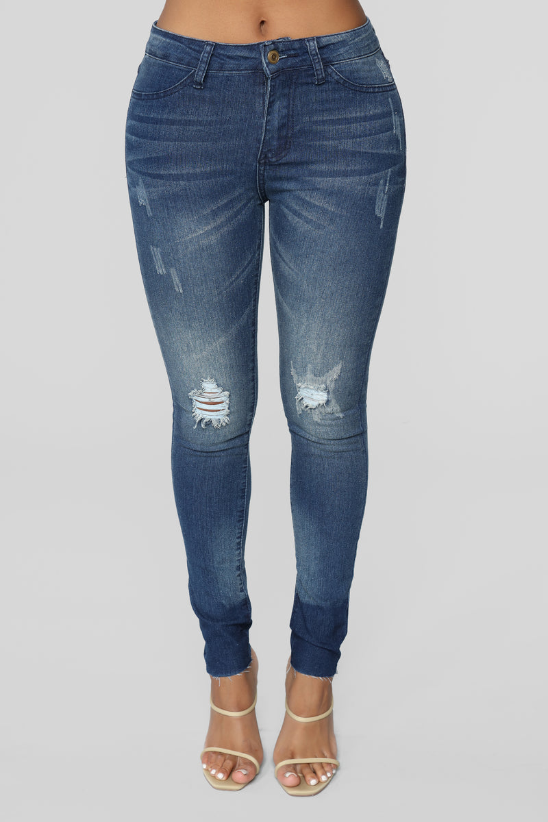 Star Filled Eyes Skinny Jeans - Vintage Blue Wash