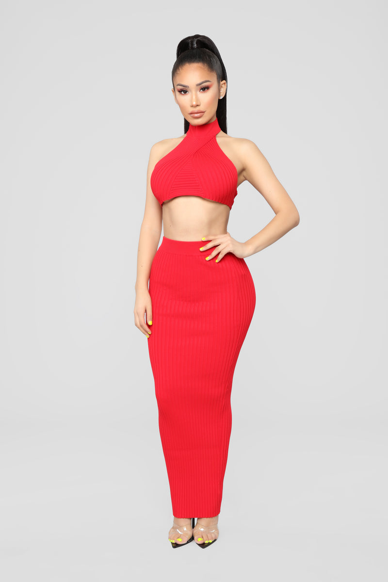 Try And Cross Me Skirt Set - Red