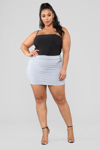 Melanie Mini Skirt - Heather Grey Angle 6