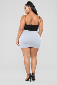 Melanie Mini Skirt - Heather Grey Angle 9