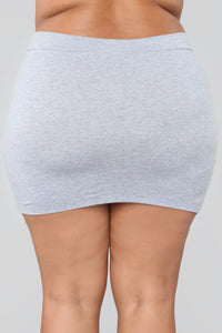 Melanie Mini Skirt - Heather Grey Angle 11