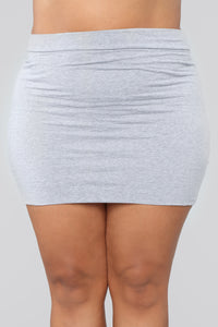Melanie Mini Skirt - Heather Grey Angle 7