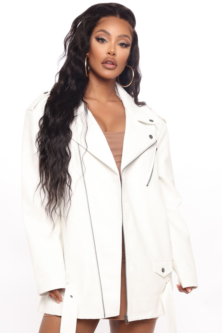 Something About You Faux Leather Moto Jacket - White