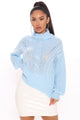 Dreamy Skies Turtleneck Sweater - Light Blue