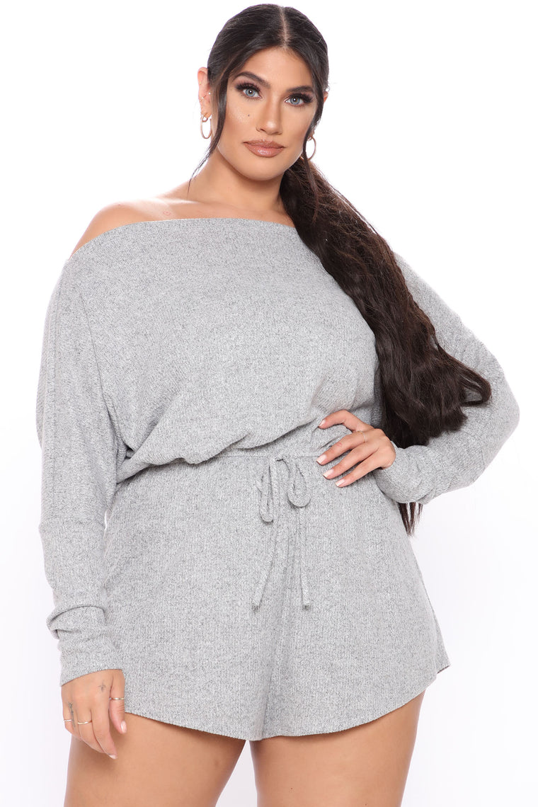 Just The Usual Off Shoulder Romper - Heather Grey