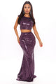 Gleaming Nights Sequin Skirt Set - Eggplant