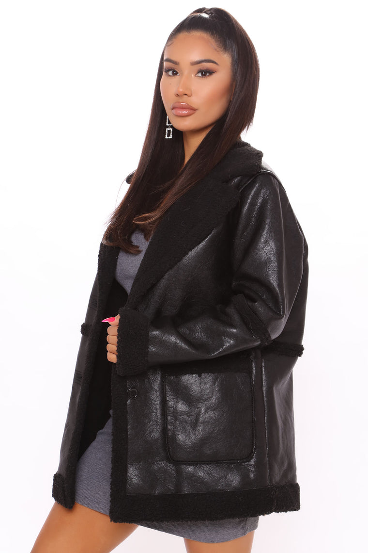 Are You Sherpa Faux Leather Jacket - Black/Black