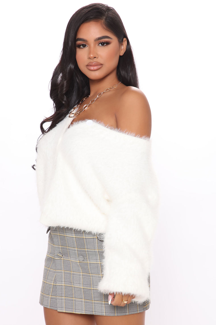 These Feels Again Fuzzy Cardigan - Ivory