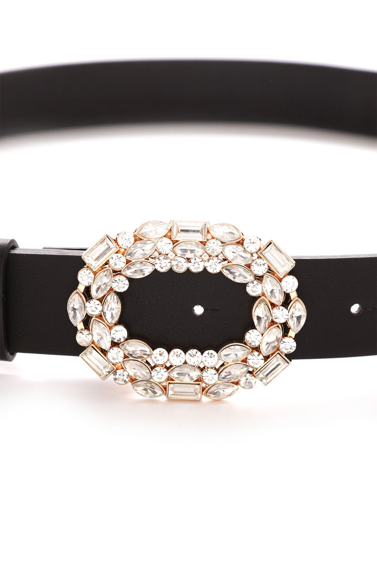 Attention Seeker Rhinestone Belt - Black/Gold