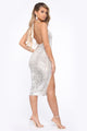 Shine Down On Me Sequin Midi Dress - Silver