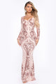 Queen Vibes Sequin Mermaid Gown - Rose Gold