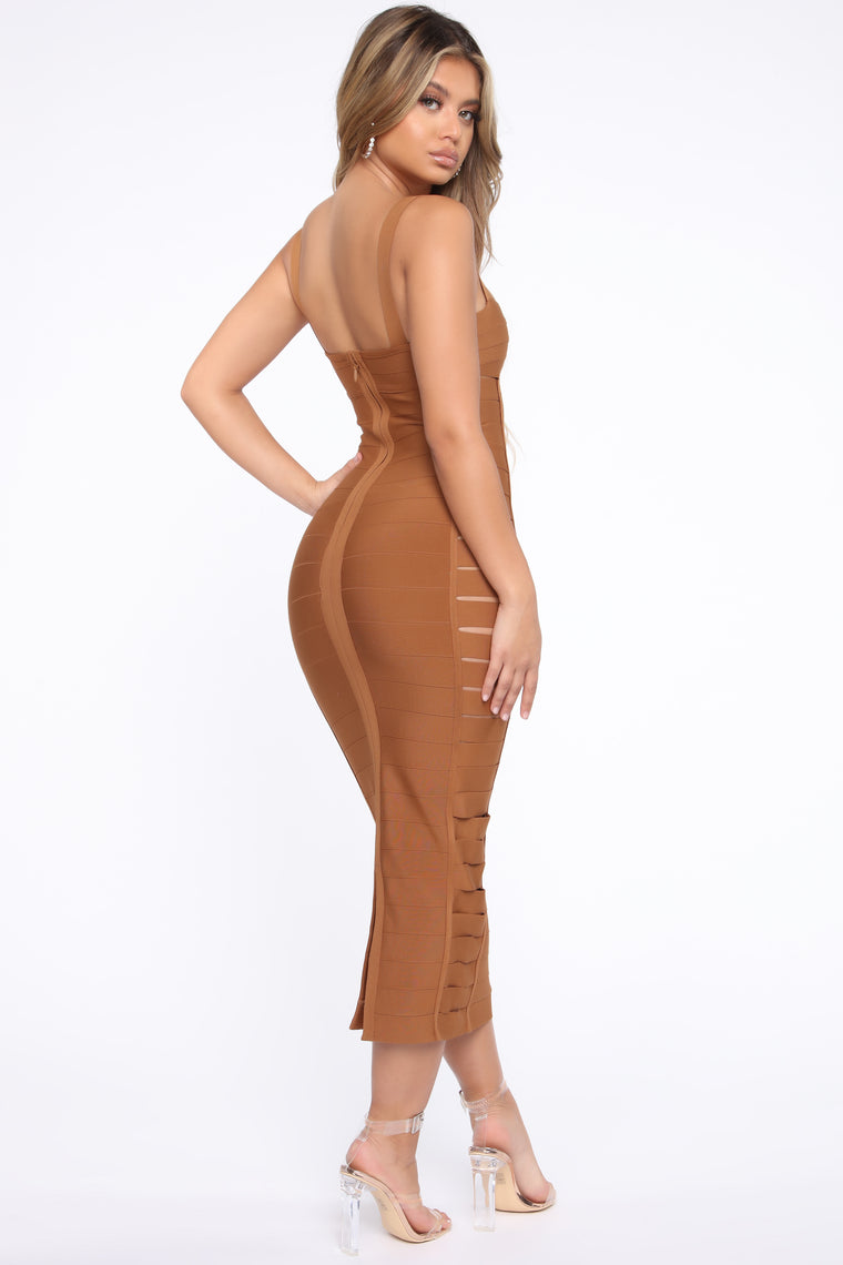 Expose My Good Sides Bandage Maxi Dress - Brown