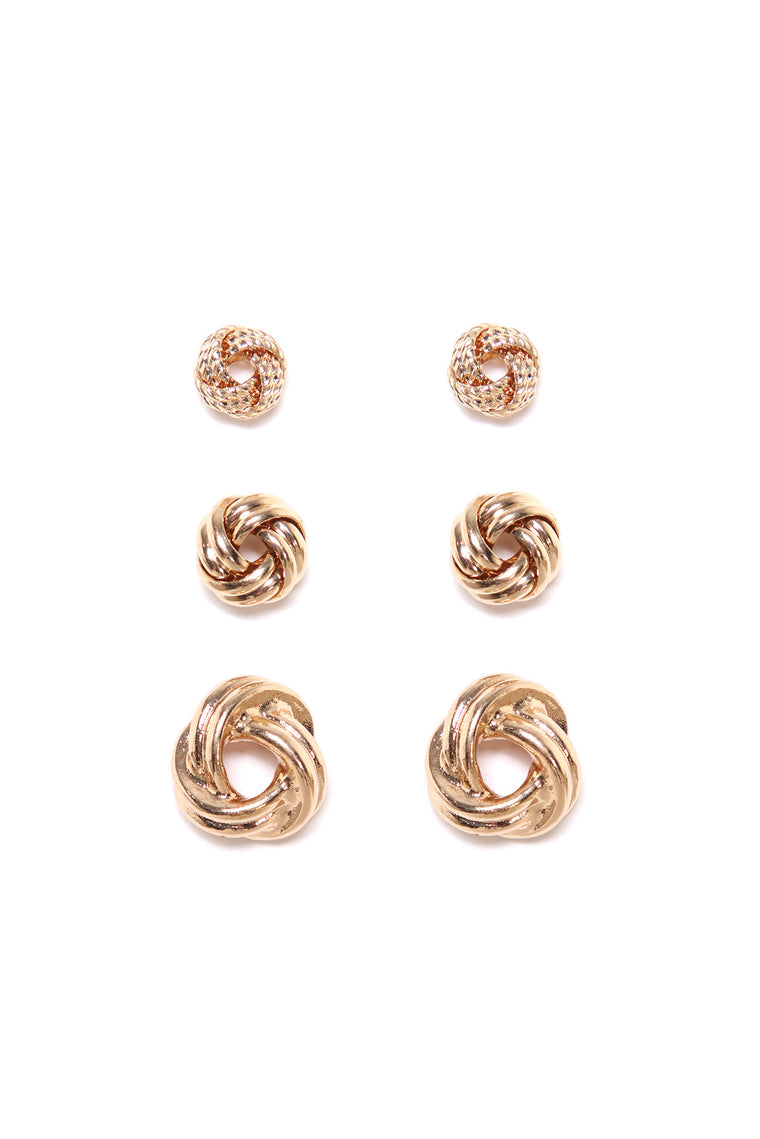 Knot Your Girl Earring Set - Gold