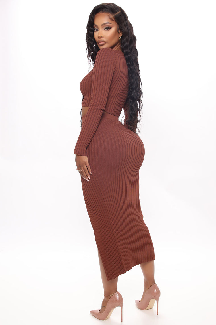 Don't Be Greedy Skirt Set - Brown