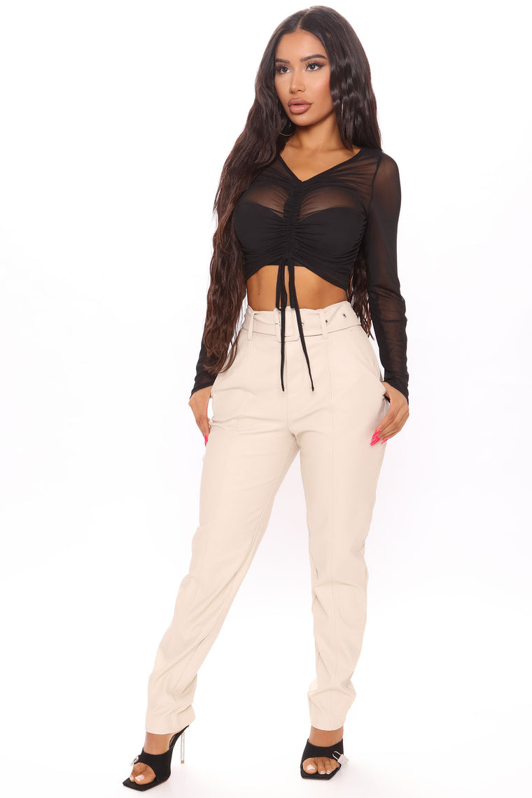 Sheer I Come Ruched Crop Top - Black