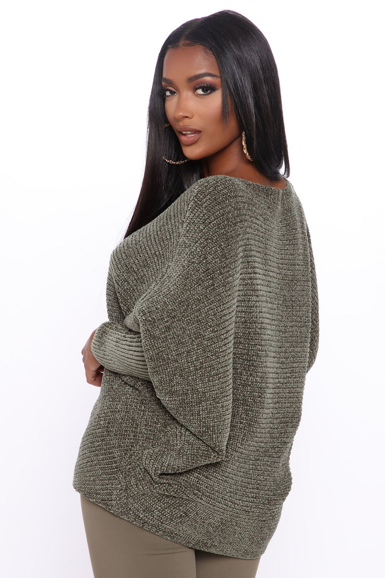 Such A Softie Dolman Sweater - Olive