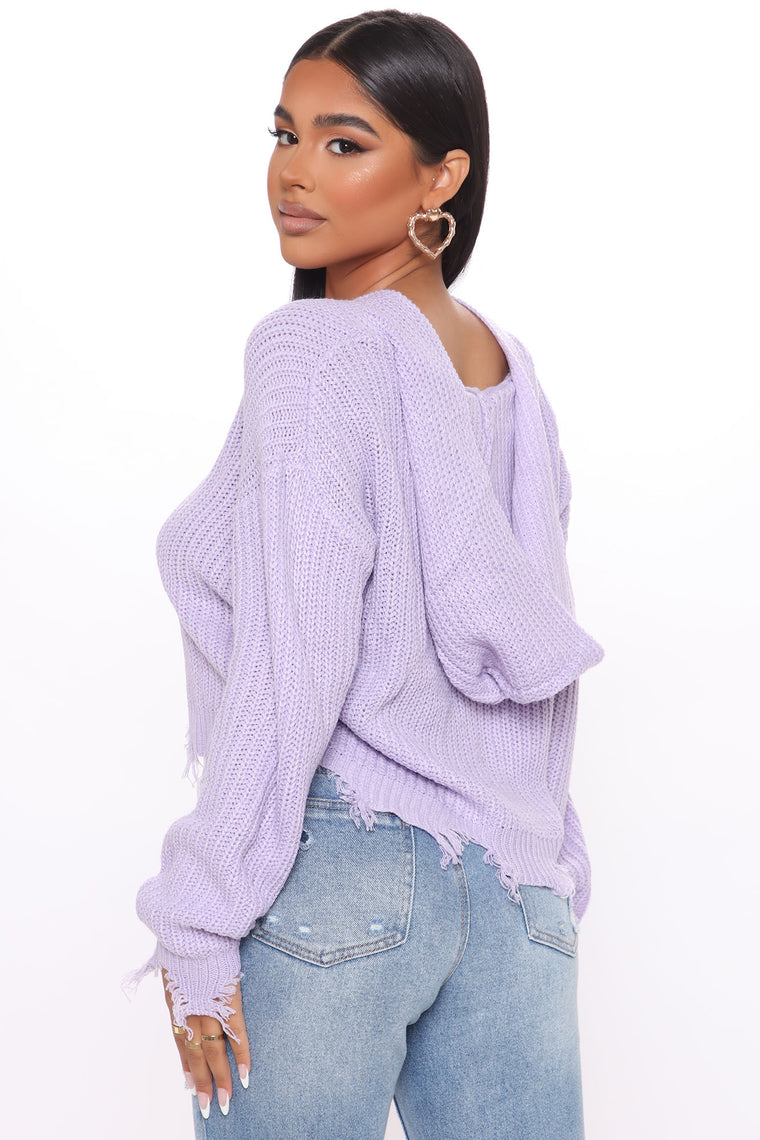 Come Out And Fray Sweater - Lavender