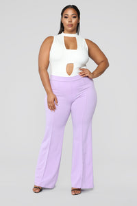 Victoria High Waisted Dress Pants - Lavender Angle 8