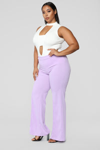 Victoria High Waisted Dress Pants - Lavender Angle 10